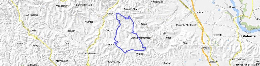 Route #1 MONTEMAGNO > grana > Patro > Casorzo > Altovilla > Montemagno.