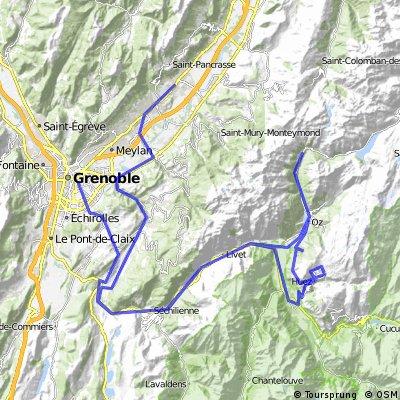 Alpe d'Huez - Crolles - 160 km  -   dénivelé 2800 m