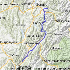 Crolles - Thones - St Jeoire - 155 km  - dénivelé 1450 m