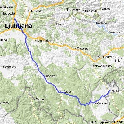 Ljubljana - Kočevje - Koprivnik - Črnomelj - Metlika