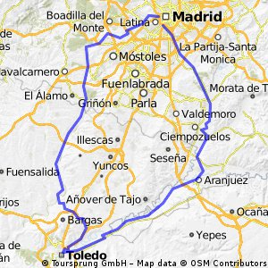 Villaviciosa - Río Guadarrama - Toledo - Aranjuez - Madrid