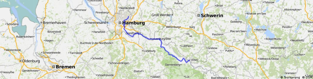 Elberadweg Dömitz- Hamburg