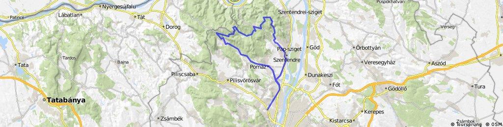 Budapest-Budakalász-Szentendre-Pap rét-Pilisszentlászló-Pilisszentkereszt-Pomáz-Budakalász-Budapest