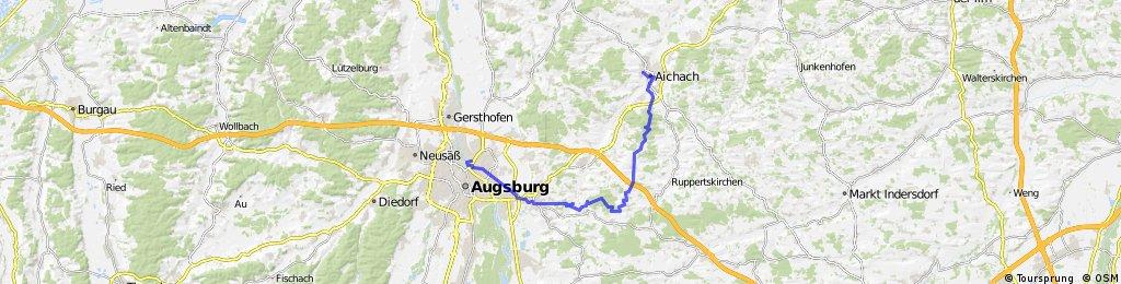 Augsburg-Aichach auf Wald- und Feldwegen