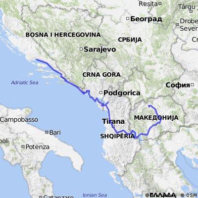 Split-Dubrovnik-Budva-Tirana-Ohrid-Skopje