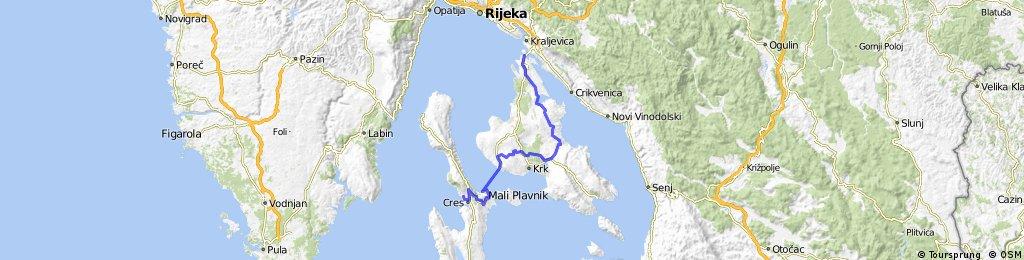 kolesarjenje Cres Stara Gavza - Otok Krk
