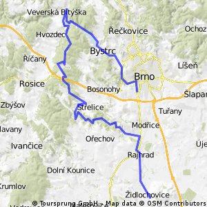 Brno - Židlochovice přes Veverskou