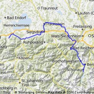 6. Etappe: Bad Saulgau-Königssee: Chiemsee-Königssee