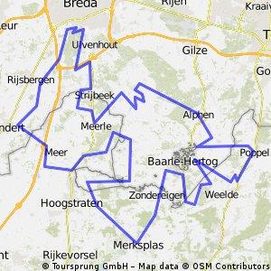 Route middelpunt van de Benelux
