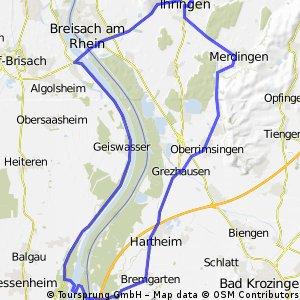 Ihringen-Hartheim-Neuf-Brisach Runde über Straße