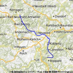Weltradeln Ahrmündung - Rheinbogen hinter Koblenz