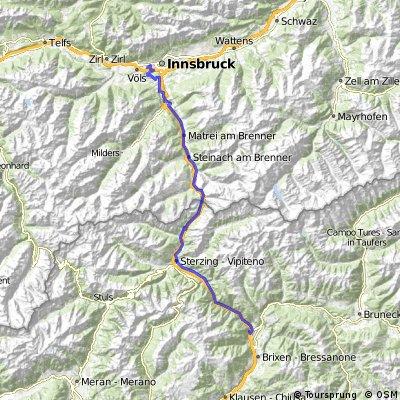 """Von Innsbruck zum Campingplatz Brixen """"Vahrner Seeweg 6"""""""