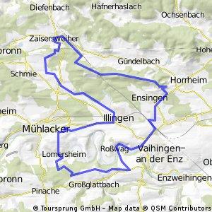 Lomersheim-Rosswag-Illingen-Ensingen-Zaisersweier-Lienzingen und zurück