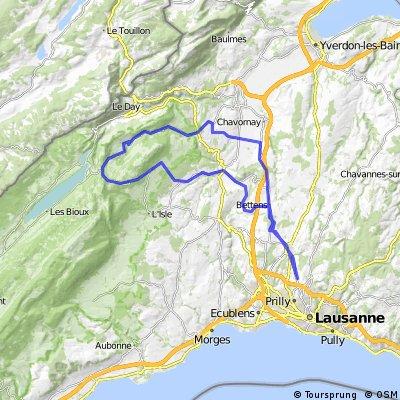 74 km : Bavois - Petra-Felix - Mollendruz - La Praz - La Sarraz - Daillens