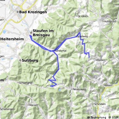 Staufen - Wiedener Eck - Münstertal - Kreuzweg - Staufen