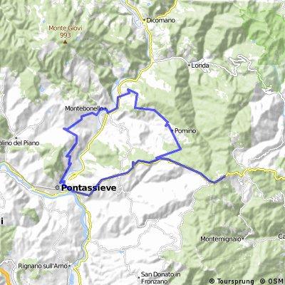 Pievecchia - Pontassieve - Passo della Consuma - Pomino - Montebonello - Mulino a Vento - Pievecchia