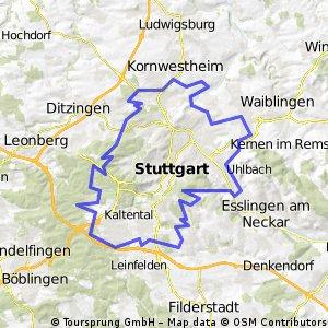 RadlThon Stuttgart von Fellbach im Uhrzeigersinn