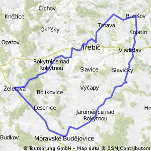 Moravské Budějovice - Lukov - Jaroměřice nad Rokytnou - Boňov - Lipník - Dolní Vilémovice - Číměř - Vladislav - Smrk - Kojatín - Budišov - Nárameč - Třebíč - St