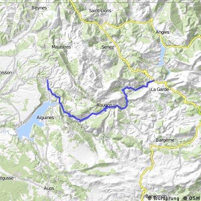 Von Moustiers nach  Castellane