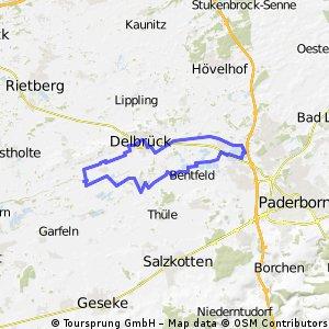 Von Delbrück zu den Lippeseen bei Paderborn und zurück.