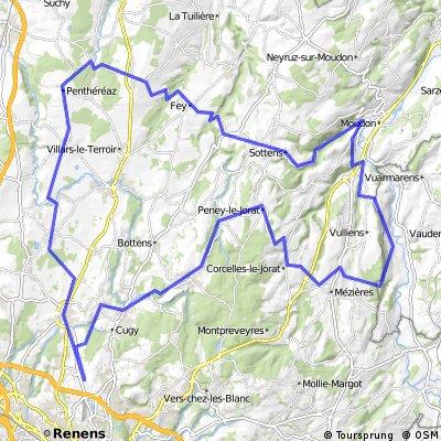 73 km : Anti-bise  Romanel - Peney - Ecublens - Moudon - Vuarrens - St-Bar' - Romanel