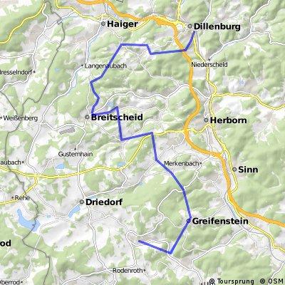 Route Fahrradtour Kollegen 1. Tag