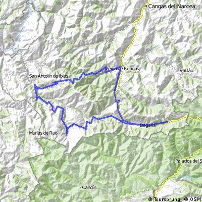 Degaña, Alto del Campillo, alto de Tormaleo, Luiña, San Antolín de Ibias, Pto del Connio, Ventanueva, Pto Rañadoiro, Degaña.
