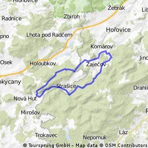 Okruh z Neřežína přes Kvaň, Strašice, Dobřív a Olešnou a zpět