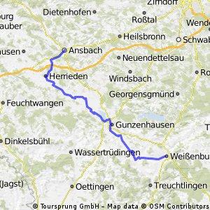 Altmühltal-Radweg: Ansbach - Weißenburg/Wettelsheim