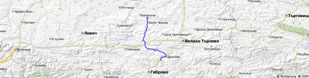 Павликени - Добромирка - Буря - Дряново - Дряновски Манастир