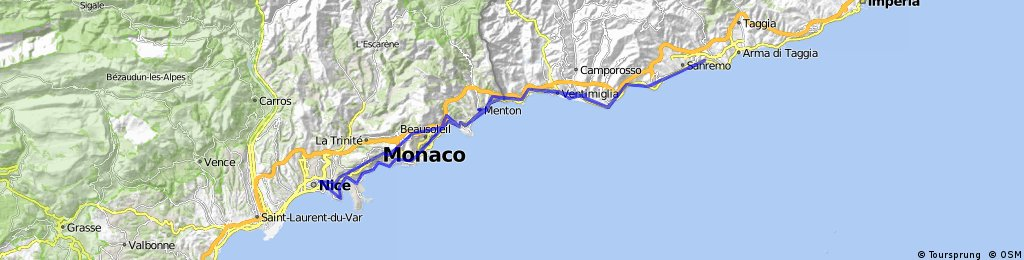 Nice Ventimiglia San Remo Nice Bikemap Your bike routes