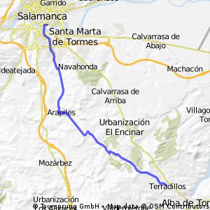 Salamanca Terradillos por caminos.