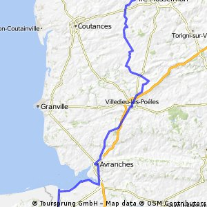 Hébécrevon to Pontorson 101km