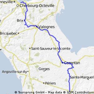 Cherbourg to Hébécrevon 98km