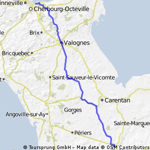 Cherbourg to Hébécrevon 79km