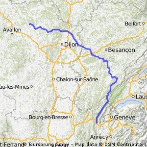 Montbard - Bellegarde par Mouthe  -  350 km