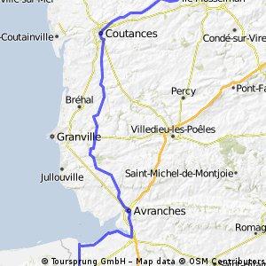 Hébécrevon to Pontorson 105km