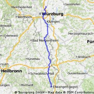 Unterpleichfeld - Ochsenfurt - Creglingen - Crailsheim - Ellwangen
