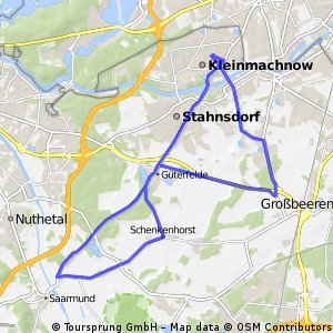 Kleinmachnow ->Ruhlsdorf ->Güterfelde -> Nudow ->Philipsthal ->Güterfelde -> Stahnsdorf ->Kleinmachnow