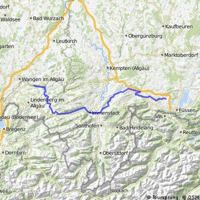 Eglofstal - Oberstaufen - Immenstadt - Nesselwang - Hopferau (Bodensee-Königsee-Radweg)