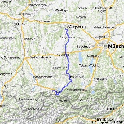 Hopferau - Füssen - Landsberg a. Lech - Augsburg (Romantische Straße)