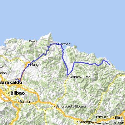 Flughafen BILBAO über BERMEO (Küste) nach LEKEITIO (Camping) 64 km