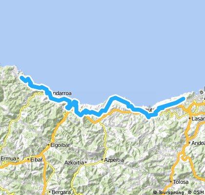 LEKEITIO über KÜSTE nach IGELDO (Camping) bei San Sebastian 64 km