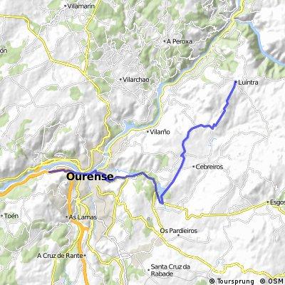 20 Eta.Ruta a seguir desde la A 52 en Ourense,a Luintra para los Autobuses 25 km