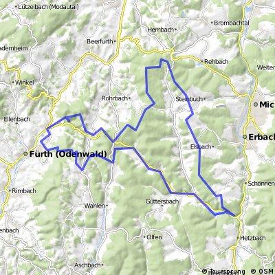 Führt - Wechnitz - Mossauer Hoehe - Marbach - Hammelbach - Rundweg