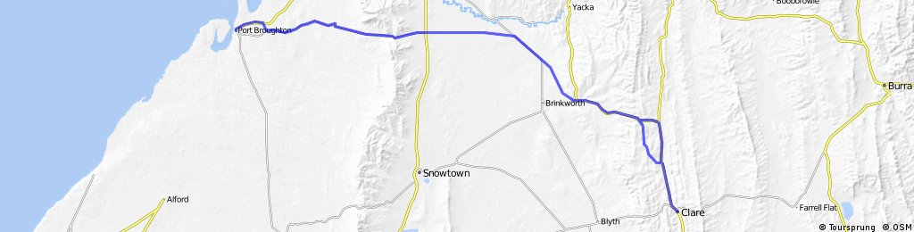 Pt Broughton to Mawson Trail (Clare) then to Gawler