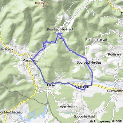 Masevaux - Sentheim - Bourbach - retour par col du Schirm