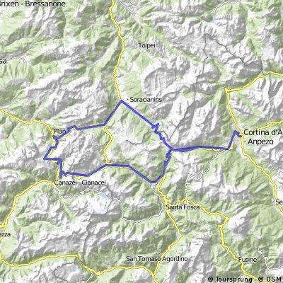 Cortina,Falzarego,La Villa,Gardena,Sella,Pordoi,Falzarego,Cortina