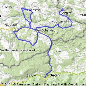 Dolní Poustevna - Sebnitz - Bad Schandau + okruh Hohenstein + okruh Konigstein - Děčín