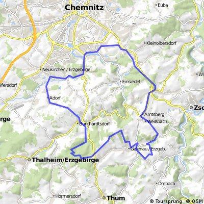 Kleine Bergrunde: Chemnitz-Harthau-Amtsberg-Weißbach-Gelenau-Venusberg-Burkhardtsdorf-Adorf-Chemnitz-Harthau
